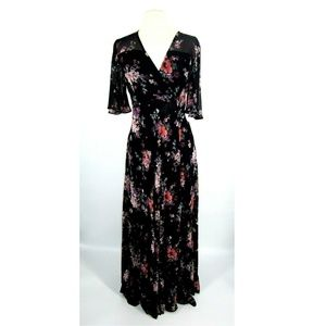 Aqua Bell Sleeve Wrap Dress Floral Print Sz S 2328